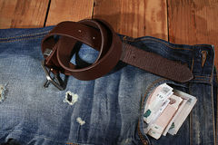 Jeanswear rustic style blue clothes Stock Photo