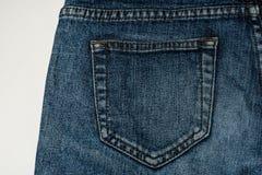 Jeanszak op een witte achtergrond Stock Foto's