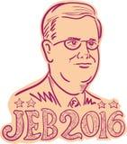 Jeb Μπους 2016 Πρόεδρος Cartoon Στοκ εικόνες με δικαίωμα ελεύθερης χρήσης