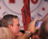 Jeb Bush campaigns.  Seen with supporters. Royalty Free Stock Image