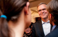 Jeb Bush meets voters in Dover, New Hampshire, USA. Former Florida Governor Jeb Bush meets Republican voters at a house party in Dover, New Hampshire. This was Stock Image