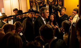Jeb Bush meets voters in Dover, New Hampshire, USA. Former Florida Governor Jeb Bush meets Republican voters and reporters at a house party in Dover, New Stock Images