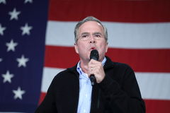 Jeb Bush speaks in front of American flag Royalty Free Stock Image