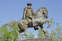 JEB Stuart. General and hero of the Confederate Army during the American Civil War. The statue stands on Monument Avenue in Richmond Virginia, the capital of Royalty Free Stock Photo