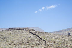Jebel Akhdar. Image of mountains Jebel Akhdar and blue sky in Oman royalty free stock photo