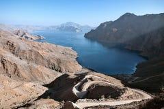 Jebel al Harim fjord from the top, Oman. Small fjord seen from the top of one of the surrounding mountains, Jebel al Harim, Oman royalty free stock image