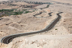 Jebel Hafeet mountain road Royalty Free Stock Photo