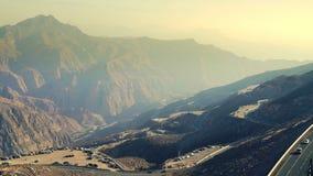 Jebel Jais road in UAE. Mountain road on Jebel Jais in Ras Al Khaimah, UAE stock video