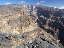 Jebel Shams, Grand Canyon of Middle East. Jebel Shams, Al Hajar mountains, Ad Dakhiliyah region, Oman Stock Photography