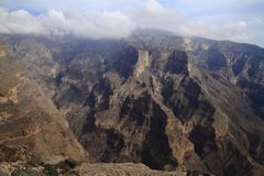 Jebel Shams. Grand Canyon of Oman royalty free stock photo
