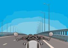 Jechać motocykl na autostradzie Płaski wektor obrazy stock