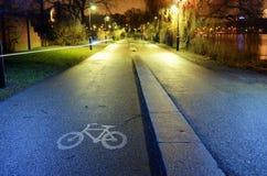 Jechać na rowerze ścieżkę w parkowym nocy mieście, Helsinki Fotografia Royalty Free