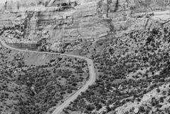 Jechać przez Kolorado Krajowego zabytku w monochromu Fotografia Royalty Free