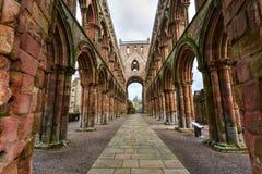 Jedburgh修道院废墟在苏格兰边区地区在Scotla 免版税图库摄影