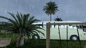 Πάρκο στην καρδιά Jeddah με με τη χλόη και τους φοίνικες στη δυνατή βροχή απόθεμα βίντεο