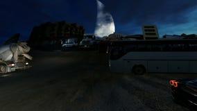 Οδός στο νότο Jeddah με τα αυτοκίνητα και τα φορτηγά τη νύχτα απόθεμα βίντεο