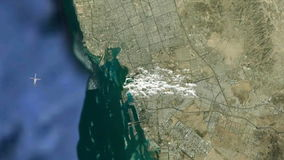 Jeddah city from space stock footage