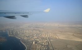Jeddah City View From Aircraft Window Stock Photo