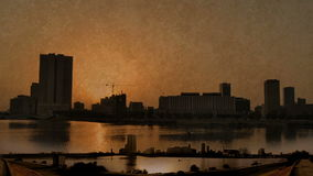 Jeddah downtown at daylight in old paper. Time lapse stock video footage