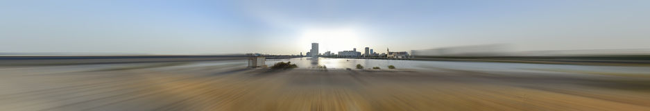 Jeddah downtown at daylight in panoramic view. With radial blur Stock Images