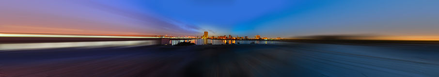 Jeddah downtown at dusk in panoramic view Stock Photo