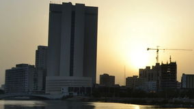Jeddah downtown time lapse from dawn to morning closeup. In saudi arabia stock video