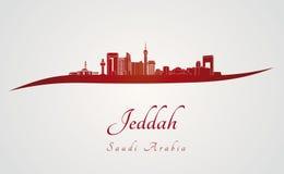 Jeddah horisont i rött Royaltyfria Bilder