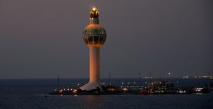 Jeddah Port Control Tower. Jeddah Light (Jeddah Port Control Tower) is an active lighthouse in Jeddah, Saudi Arabia. With a height of approximately 113 metres ( Royalty Free Stock Image