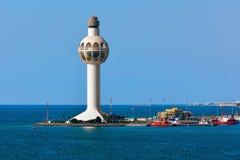 Jeddah Port Control Tower. Jeddah Light (Jeddah Port Control Tower) is an active lighthouse in Jeddah, Saudi Arabia. With a height of approximately 113 metres ( Stock Photos