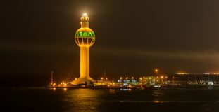 Jeddah Port Control Tower. Jeddah Light (Jeddah Port Control Tower) is an active lighthouse in Jeddah, Saudi Arabia. With a height of approximately 113 metres ( Stock Images