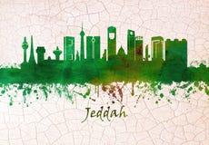 Jeddah Saudiarabien horisont stock illustrationer