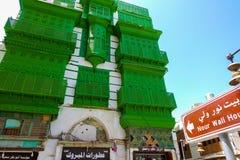 Jeddah saudier Arabien-Maj 26, 2016: Gamla byggnader på det historiska området av Jeddah Arkivfoton
