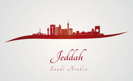 Jeddah skyline in red Royalty Free Stock Images