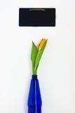 Jeden żółty tulipan w błękitnej wazie i kredowa deska dla notatek odizolowywać Obraz Royalty Free