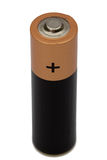 Jeden AA bateria odizolowywająca na bielu, z ścinek ścieżką Zdjęcia Royalty Free