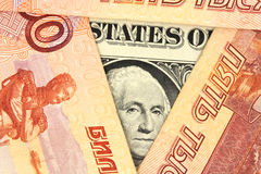 Jeden Amerykański dolar Rosyjscy ruble Fotografia Stock