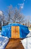 Jeden błękitna jurta w zima parku Obraz Stock