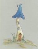 Jeden błękitny fantastyczny pieczarka dom Obrazy Royalty Free