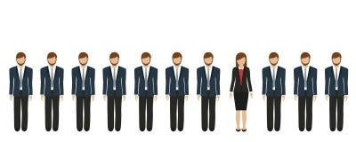Jeden biznesowa kobieta między biznesmenami ilustracji