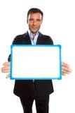 Jeden biznesowego mężczyzna mienie pokazywać whiteboard Fotografia Royalty Free