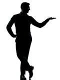Jeden biznesowego mężczyzna ręki otwarta sylwetka Fotografia Stock