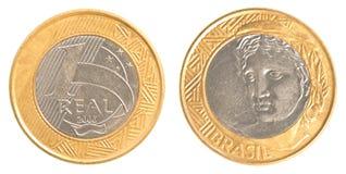Jeden Brazylijska real moneta Zdjęcie Royalty Free