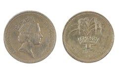 Jeden brytyjska funtowa moneta Obrazy Royalty Free