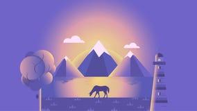 Jeden brzeg rzeki opowieść | Wschód słońca royalty ilustracja