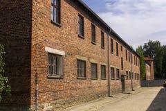 Jeden budynki Auschwitz Ja eksterminacja obóz zdjęcie stock
