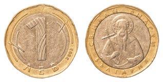 Jeden bulgarian leva moneta Obrazy Royalty Free