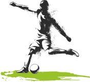 Jeden caucasian gracza piłki nożnej mężczyzna bawić się kopanie w sylwetce odizolowywającej na białym tle ilustracja wektor
