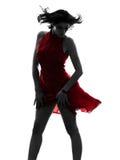 Seksowna kobieta w czerwieni sukni sylwetce obrazy stock