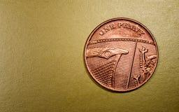 Jeden cent waluty Sterling Brytyjska moneta Obrazy Royalty Free