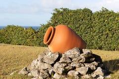 Jeden ceramiczny garnek w ogródzie obraz stock